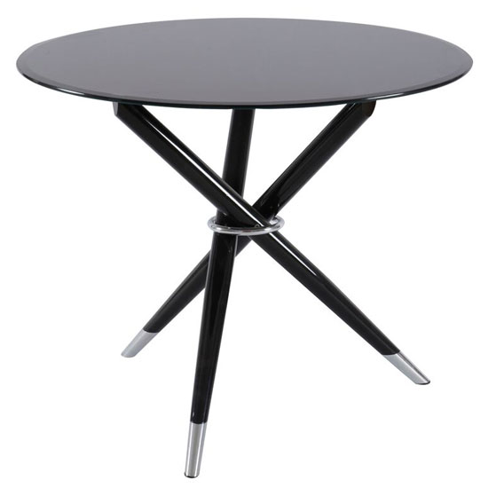 Sahan dining table round in black gloss with silver base 257 - Tables rondes pliantes ...