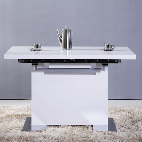 Abramo Extendable Dining Table Small In White High Gloss