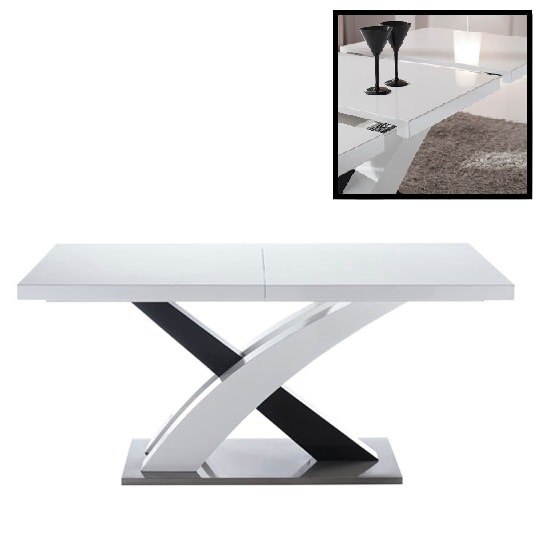 Axara Large Extendable Dining Table In White and Black Gloss