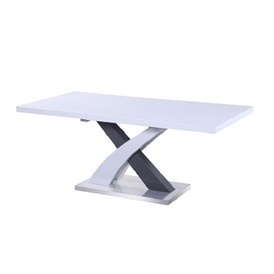 Axara Extendable Dining Table In White And Grey High Gloss