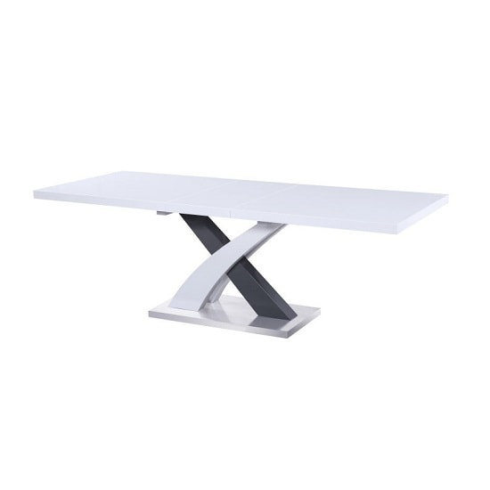 Axara Extendable Dining Table In White And Grey High Gloss_2