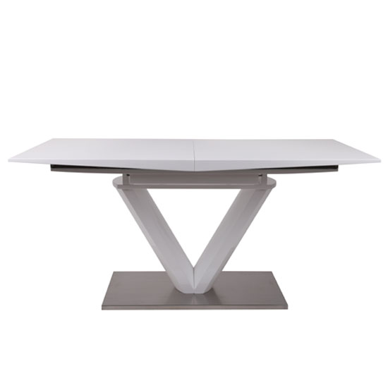 Habitat Extendable Dining Table In White Gloss With Chrome Base