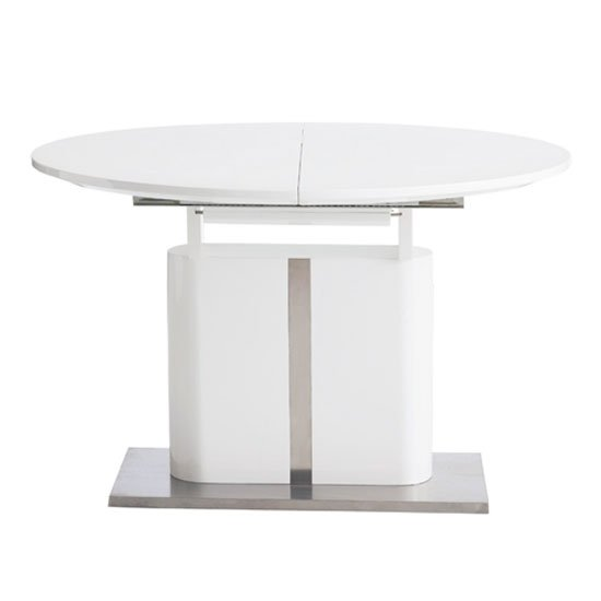 Tripton Extendable Dining Table In White Gloss With Chrome Base