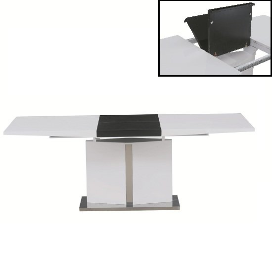 Belmonte Extendable Dining Table In White And Black High