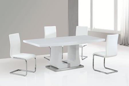 Messina Extendable Dining Table In White Gloss With Chrome Base