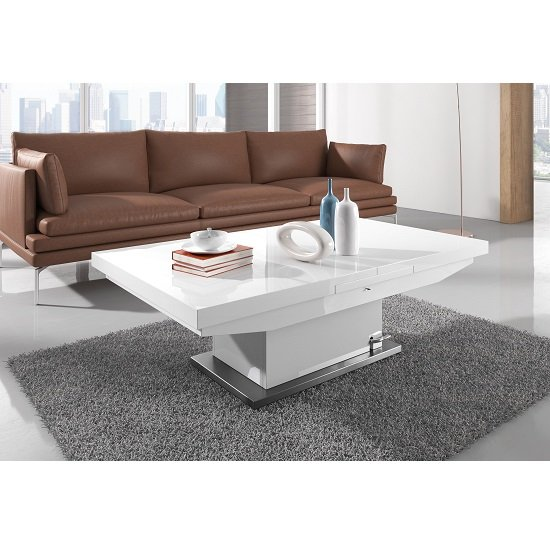 Modanuvo White Black Gloss Oak Extending Storage Coffee: High Gloss Coffee Tables, Black, White, Furnitureinfashion UK