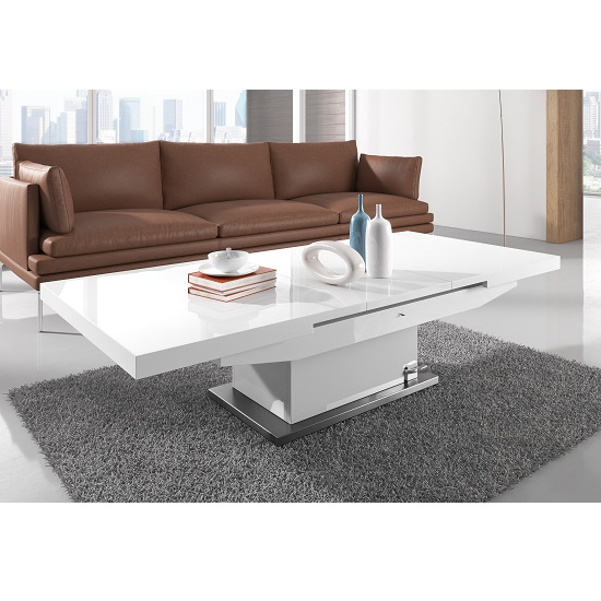 elgin extendable coffee converting dining table in white. Black Bedroom Furniture Sets. Home Design Ideas