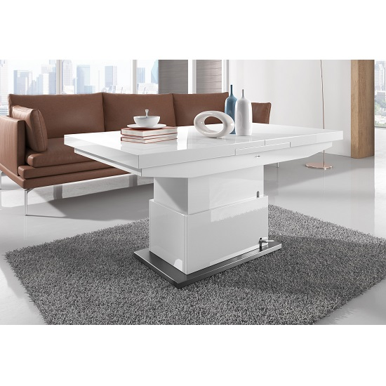 Elgin Extendable Coffee Converting Dining Table In White
