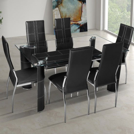 Charrell Clear Glass Top Dining Table With 6 Black Chairs