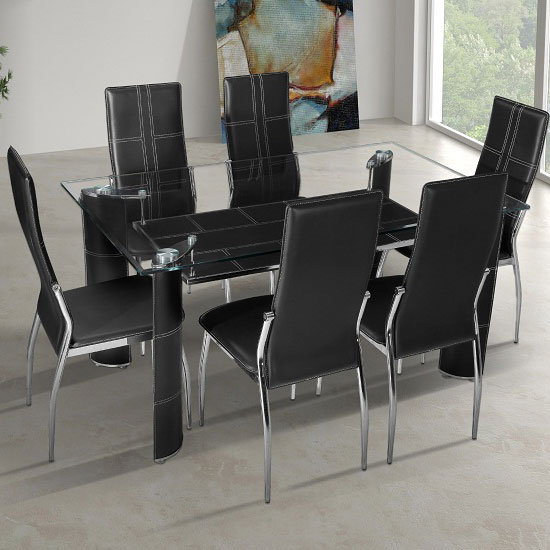 Charrell clear glass top dining table with 6 black chairs for Dining room tables 6 seater