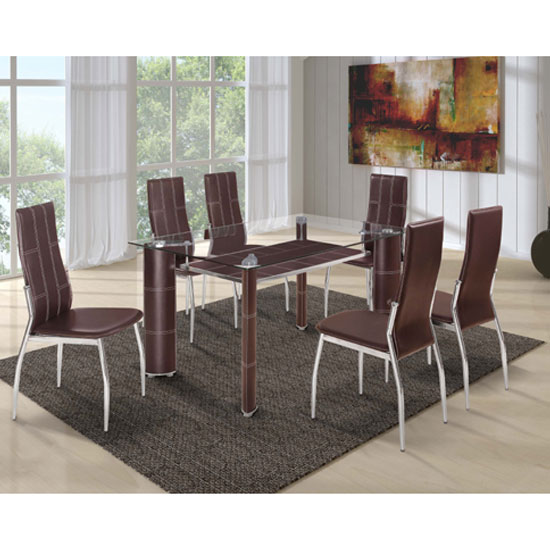 Charrell Clear Glass Top Dining Table With 6 Brown Chairs