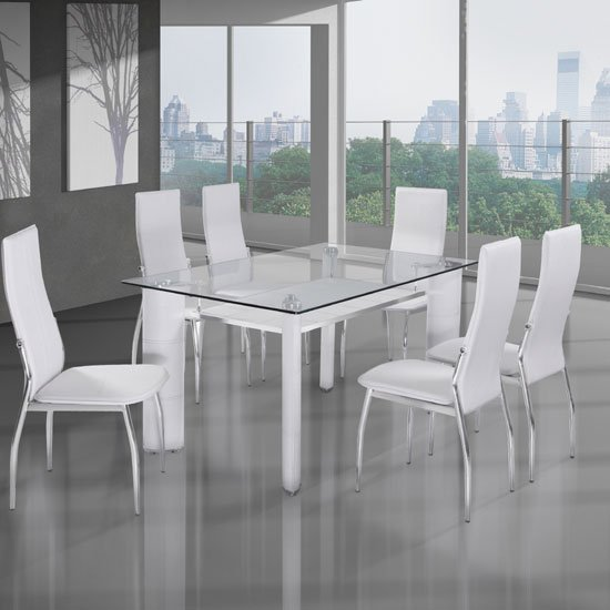 Charrell clear glass top dining table with 6 white chairs 23 for White dining table and 6 chairs