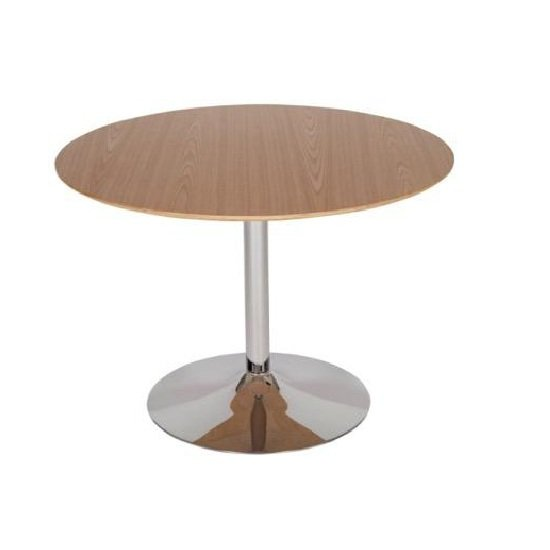 armado bistro dining table in light wood with chrome base