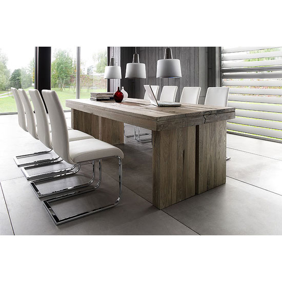 avignon solid oak extending dining table and 8 canterbury