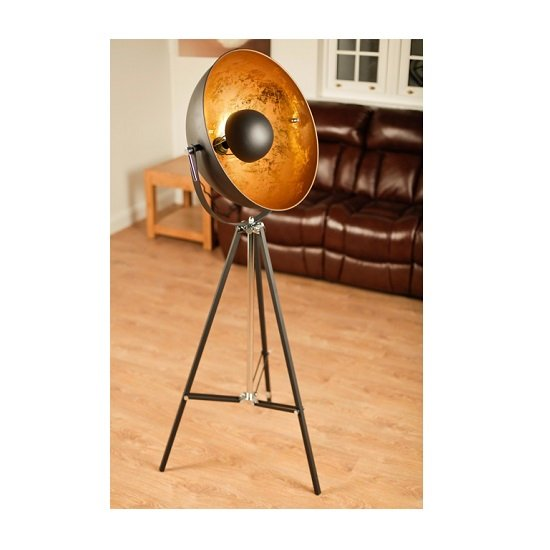 Forester Floor Lamp In Black Metal With Tripod Base