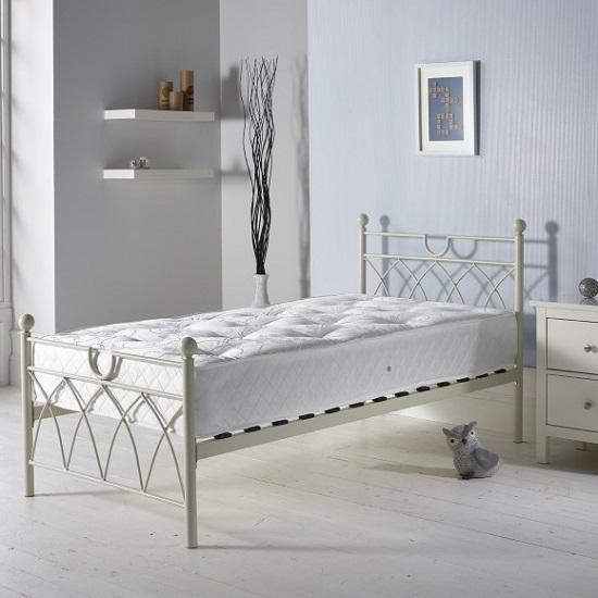 Dales Contemporary Metal Single Bed In Cream