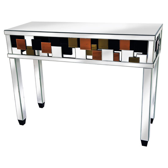 Read more about Darcy console table in mirrored glass top with coloured panels