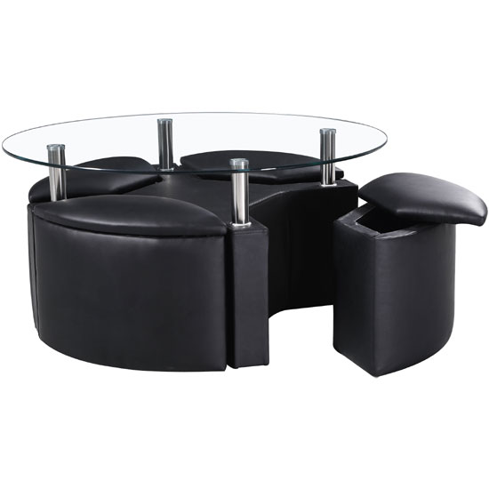 Minnesota round glass coffee table with 4 storage stools in - Glass coffee table with stools underneath ...