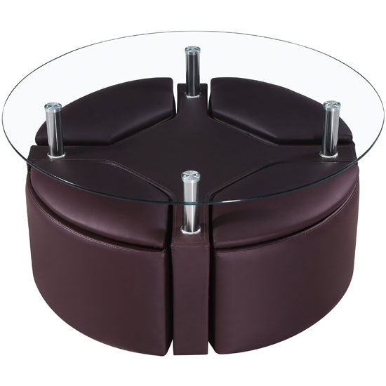 Minnesota Round Glass Coffee Table With 4 Brown Storage Stools