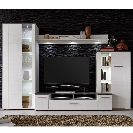 Erika Wooden Living Room Sets In White And Brown With Led
