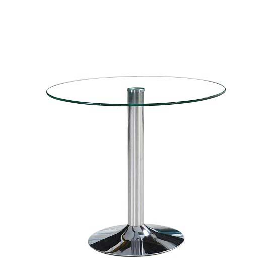 View Dante round clear glass dining table