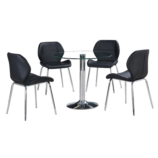 Dante Glass Dining Table In Clear With 4 Black Darcy Chairs_2