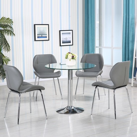 Dante Glass Dining Table In Clear With 4 Grey Darcy Chairs