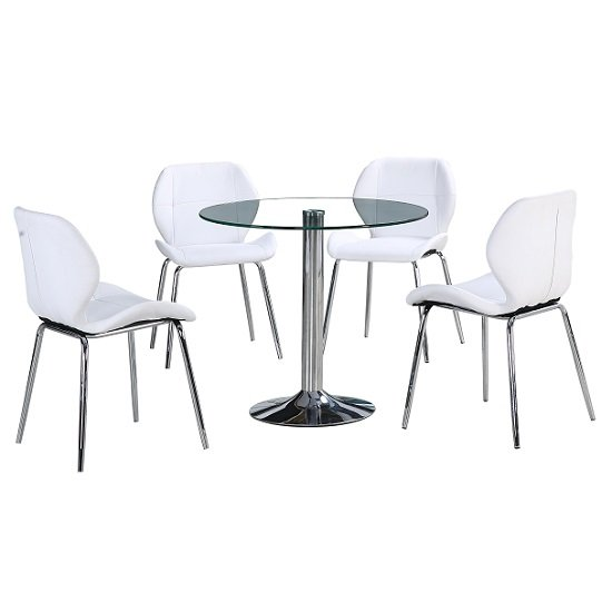 Dante Glass Dining Table In Clear With 4 White Darcy Chairs_2