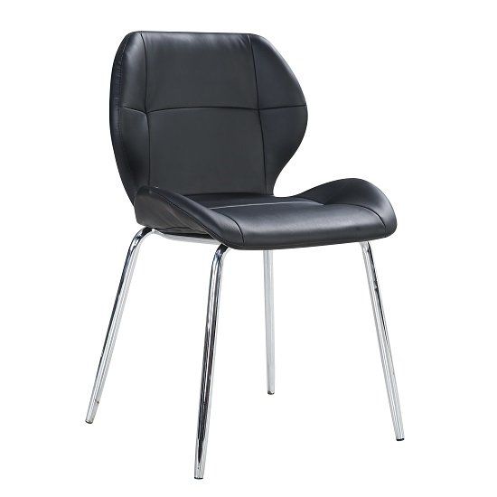 Darcy Dining Chair In Black Faux Leather With Chrome Legs