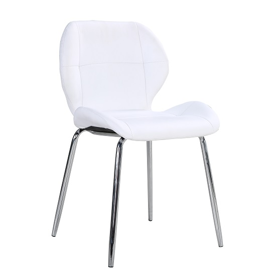 Darcy Dining Chair In White Faux Leather With Chrome Leg