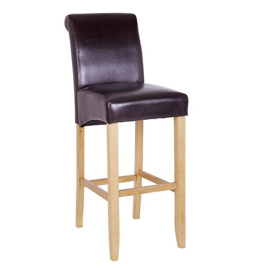 Monte Carlo High Bar Chair In Brown Faux Leather With Oak Legs