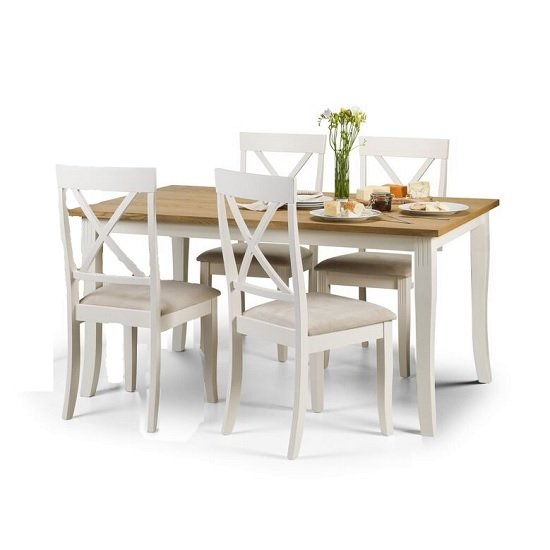 Cromley Dining Table Rectangular In Oak With 4 Dining Chairs