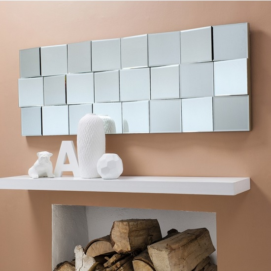 Harvard Wall Mirror In Silver Crackle With Block Panels
