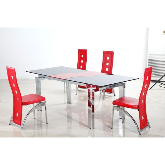Jamelia Glass Extending Dining Table And 8 Manhattan Chair