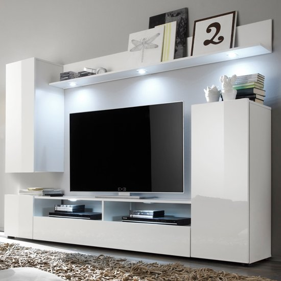 Delta Living Room Furniture Set 1 In White High Gloss With LED