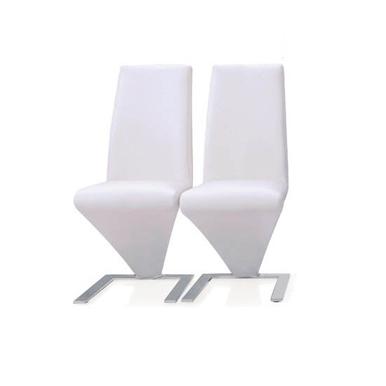 Demi Z Dining Chairs In White Faux Leather in A Pair