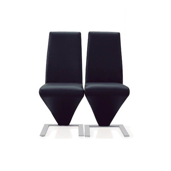 Demi Z Dining Chairs In Black Faux Leather in A Pair