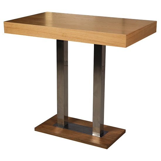 Caprice Bar Table Rectangular In Oak And Stainless Steel Support