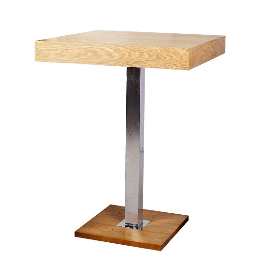 38ce7767659 Topaz Bar Table Square In Oak And Stainless Steel Support