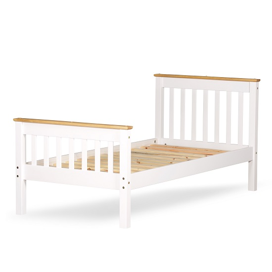 Devon Modern Wooden Bed In White With Naural Pine Top_2