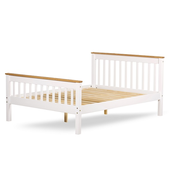 Devon Modern Wooden Bed In White With Naural Pine Top_3
