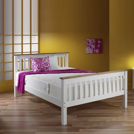 Devon Modern Wooden Bed In White With Naural Pine Top_6