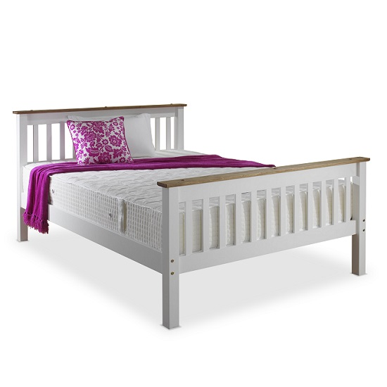 Devon Modern Wooden Bed In White With Naural Pine Top_5