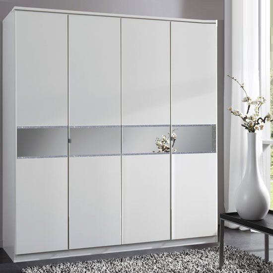 Diamant 4 Door Wardrobe With Glass In Centre