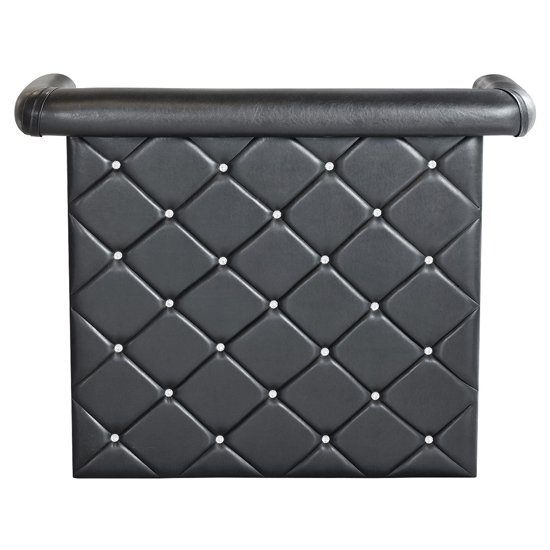 Diamond Bar Unit In Black Faux Leather With Diamante_2