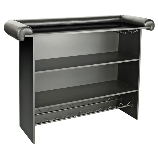 Diamond Bar Unit In Black Faux Leather With Diamante_3