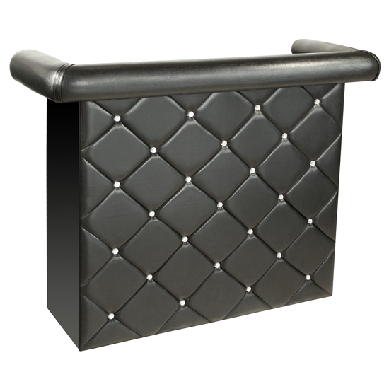 Diamond Bar Unit In Black Faux Leather With Diamante_1