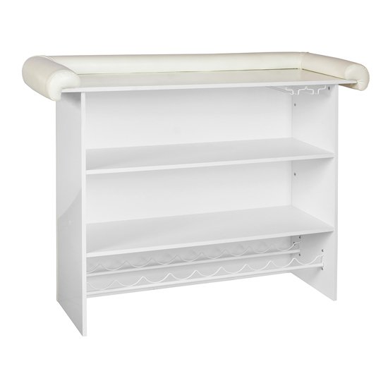 Diamond Bar Unit In White Faux Leather With Diamante_2