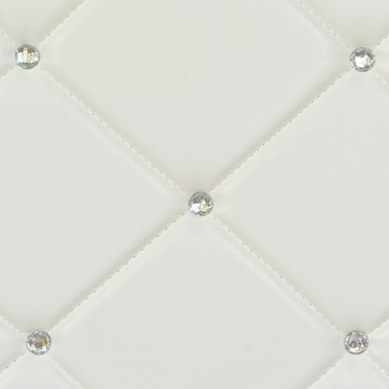 Diamond Bar Unit In White Faux Leather With Diamante_3
