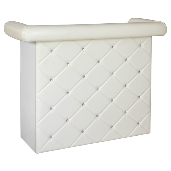 Diamond Bar Unit In White Faux Leather With Diamante
